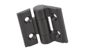 Una bisagra de aluminio en color negro