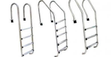 tres tipos de escaleras para piscinas en medidas diferentes